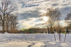 After the Storm (Lojones13) Tags: park sky people sun snow newyork clouds bronx
