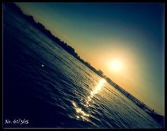 Sunrise (MsFerret_Art) Tags: morning blue sea sky sun water yellow sunrise river symmetry diagonal 365 rhein iphone symmetrie project365