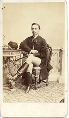 Portrait of a Hungarian nobleman by Simonyi (elinor04 thanks for 24,000,000+ views!) Tags: portrait man hat vintage table photo hungary photographer victorian cdv cartedevisite 1860s pest hungarian nobleman unsigned asztal simonyi kerts korlt simonyiantal elinorsvintagephotocollection