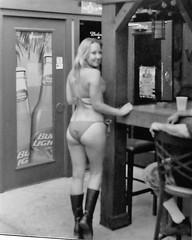 Another Bar On The Great American Bar Tour BullHeadCityAZ (Shot by Newman) Tags: bw bar 35mm boots bikini blonde ilford ilforddelta400 riverrun bikeweek laughlinnevada olearyspub bikinibikewash bullheadcityaz shotbynewman