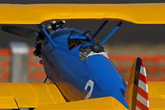 Waiting To Fly (jrussell.1916) Tags: blue yellow aircraft airplanes kansas biplane shawneemissionpark remotecontrolaircraft canon400mmf56lusm