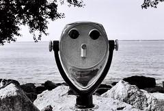 1 (_in_dreamss) Tags: ohio people blackandwhite bw lake bird beach metal 35mm spiral skull sand superior stairwell telescope forgotten roll ilford sandal themet filmisnotdead buyfilmnotmegapixles staybrokeshootfilm airfilght
