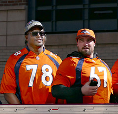 Denver Broncos:  Offensive Tackle Ryan Clady and Center Sam Brenner (Colorado Sands (away)) Tags: people usa man male men america us football colorado unitedstates nfl brenner denver parade celebration players athlete 78 67 afc americanfootball clady 2016 denverbroncos victoryparade professionalfootball prosports superbowlchampions profootball americansports sandraleidholdt ryanclady superbowl50 sambrenner