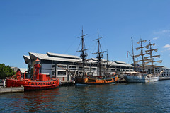 Carpentaria & Endeavour & Guayas (PhillMono) Tags: voyage new cruise lighthouse reflection museum wales boat ecuador nikon ship harbour south sydney australia vessel replica maritime sail restored tall preserved nautical arrival dslr departure darling lightship carpentaria endeavour guayas d7100