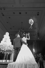 Bride throwing the bouquet, processed in black and white, Classic style, Grain filter, Selective focus [love and romantic concept] (enchanted.fairy) Tags: