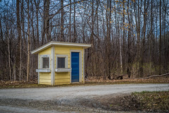 Road Shack (Evan's Life Through The Lens) Tags: life camera blue orange lake color college water glass beautiful vintage lens drive cool warm vermont day looking minolta bright cloudy farm vibrant f14 sony adventure land 58mm a7s