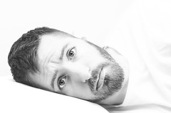 (Damien Cox) Tags: uk portrait blackandwhite selfportrait man male me face self ego myself beard mono bed eyes nikon sad masculine moi pillow autorretrato scruff stubble i damiencox damiencoxcouk