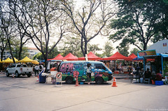 setting up food fest (iheresss) Tags: film festival 35mm thailand kodak filmcamera ricoh compactcamera foodtruck negativefilm f32 135film supergold400 ff3afsuper
