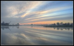 Colors in the sky (ronver1960) Tags: trees sky holland reflection netherlands clouds river farm pastel stripes calm serene mystic lek gelderland betuwe dragline