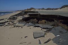 Nature Wins... (brucetopher) Tags: road street storm beach dangerous parkinglot erosion disaster damage effect sinkhole roadwork tar