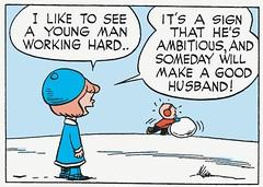 Working hard (Tom Simpson) Tags: illustration work comics husband peanuts 1950s comicstrip charliebrown hardwork 1953 charlesmschulz charlesshulz newspapercomics
