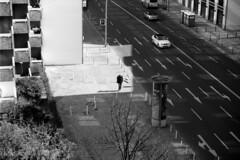 Untitled (Florian Thein) Tags: street light shadow blackandwhite bw berlin film analog 35mm licht schwarzweiss schatten charlottenburg vogelperspektive canonf1 vonoben birdseyeview fujineopan