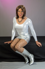 Seated In Silver! (kaceycd) Tags: boots s tgirl bodysuit stilettoheels pantyhose crossdress spandex lycra tg leotard stilettos kneeboots wetlook shinyboots stilettoboots fishnethose sexyboots vinylboots