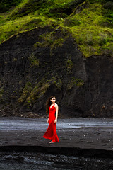 Black Sands Beach (Alyssa Mort) Tags: red portrait cliff woman beach girl surreal conceptual alyssamort