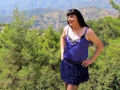 Delightful feeling (Paula Satijn) Tags: mountains hot sexy girl sunshine outside view purple silk cyprus skirt tgirl transvestite satin miniskirt gurl