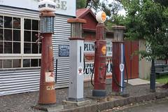 Old Gippstown - Garage Pumps (Malleeroute) Tags: park old heritage village garage shell victoria pump valley moe historical petrol texaco cor fuel plume gippsland latrobe latrobevalley gippstown