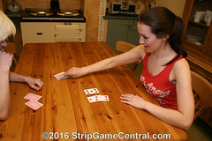 Courtney & Jessie play Strip Pontoon (i) (StripGameCentral Ed) Tags: girls game kitchen jessie fun cards women 21 loser courtney cheeky blonde winner brunette pontoon stripgame