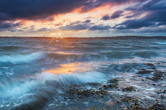 a storm is coming (bhansen.kiel) Tags: sunset storm cold color water clouds canon germany landscape wasser exposure waves wind dramatic stormy balticsea landschaft ostsee kiel schleswigholstein wellen kielerfrde
