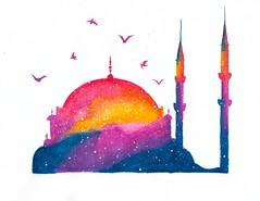 Istanbul (andreasamaniego) Tags: sunset turkey watercolor painting istanbul crayon turquia estambul
