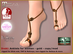 Bliensen - Dreki - Anklet - gold (Plurabelle Laszlo) Tags: ancient dragon antique jewelry medieval footwear viking belleza anklet roleplay gor maitreya slink gorean themeshproject