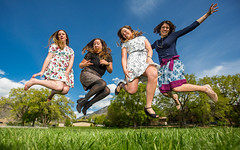 Off the ground (Flickr_Rick) Tags: woman girl sarah outside casey spring jump jumping roommates erin bluesky skirt greengrass jumpology