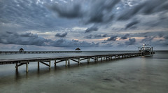Waiting for the sun to rise (Alex Bruce Photo) Tags: morning clouds sunrise dock belize calm palapa caribbean ambergriscaye