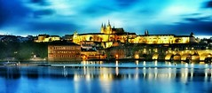 Prague Castle at Dusk (Christian_from_Berlin) Tags: city travel sunset vacation castle golden prague prag praha worldheritagesite czechrepublic bluehour charlesbridge bohemia unescoworldheritage praguecastle moldau vlatava motherofcities