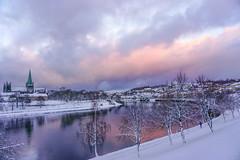 sunset over Nidelva (krøllx) Tags: winter white snow cold water norway season landscape seasons cathedral atmosphere trondheim sørtrøndelag nidelva nidarosdomen trøndelag nidaroscathedral sør 16011800452016011812