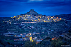 Panormica de Morella, Castelln (dleiva) Tags: city travel sky people panorama color valencia horizontal architecture night outdoors photography town spain image no space panoramic structure illuminated copy domingo province built castellon castelln leiva destinations morella dleiva