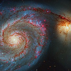 Whirlpool Galaxy, variant (sjrankin) Tags: nasa galaxy acs m51 messier wfc hst interacting hubblespacetelescope whirlpoolgalaxy ngc5194 ngc5195 spiralgalaxy extragalactic hypergiantstar etacarinaanalog