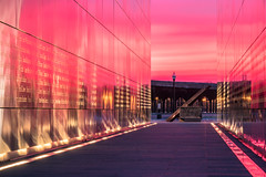 Sunset Reflecting off 9/11 Memorial (RyanKirschnerImages) Tags: nyc jerseycity 911memorial
