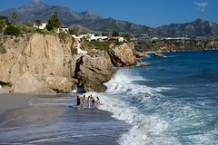 Beach fun (3/3) (Kym.) Tags: sea people beach walking fun spain walk andalusia nerja andalucia