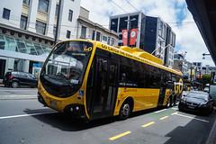 Courtenay Place (andrewsurgenor) Tags: city newzealand urban bus buses yellow electric busse transport transit nz wellington publictransport streetscenes omnibus trolleybus obus trolleybuses citytransport trackless nzbus gowellington