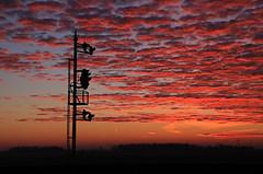 Fire sky (GLC 392) Tags: morning trees light shadow ohio sky cloud sun color silhouette sunrise fire dawn lights early south sub toledo pre oh bo siding rise position cpl csx subdivision deshler cpls