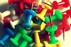 Pins (Crisp-13) Tags: blue red white green yellow point pin board pins prick