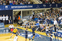 Volleyball Superstars in Action - Smith Field House at BYU (aaronrhawkins) Tags: house game net field set court campus hit jump kill action crowd smith mens match spike volleyball block ncaa excitement bump ucsb byu hitter brighamyounguniversity smithfieldhouse aaronhawkins benpatch