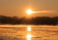 Cold Sunset (bjorbrei) Tags: winter sunset sea sun mist cold ice water yellow norway river frost fredrikstad gressvik