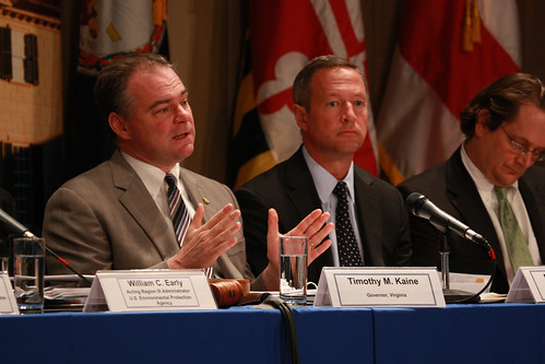 2009 Chesapeake Executive Council Meeting - The Chesapeake Executive Council holds its annual meeting at Historic Mount Vernon, Va., on May 12, 2009. Participating in the meeting were Virginia Governor and Executive Council Chairman Timothy M. Kaine, Lisa Jackson, Administrator, U.S. Environmental Protection Agency, Maryland Governor Martin O'Malley, Jay Jensen, Deputy Undersecretary, U.S. Department of Agriculture, Mayor Adrian Fenty, District of Columbia, Delegate John Cosgrove, Chairman, Chesapeake Bay Commission, John Hanger, Secretary, Pennsylvania Department of Environmental Protection, Collin O'Mara, Secretary, Delaware Department of Natural Resources and Environmental Control, Bill Brannon, Deputy Director, West Virginia Water & Waste Management, and Navis Bermudez, Associate Director of Federal Policy, Office of the Governor, New York.