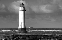 New Brighton lighthouse standing proud and tall despite its years (lunaryuna) Tags: uk england bw monochrome coast blackwhite lunaryuna wallasey newbrighton merseyside newbrightonlighthouse perchrocklighthouse wirralpenninsula