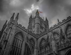 Bath Abbey (Wizard CG) Tags: world city england blackandwhite white black building monochrome abbey skyline architecture digital ed bath outdoor gothic somerset olympus hdr trekker epl1 918mm mzuiko