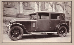 CAR 1928 (ManOfYorkshire) Tags: 1920s windows church car photography automobile open snapshot rich pride mascot card photograph mounted trunk motor bonnet windscreen 1928 saloon processed hillman cabriolet ownership 4door