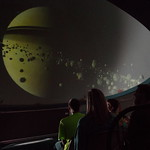 Students watching Planetarium presentation.
