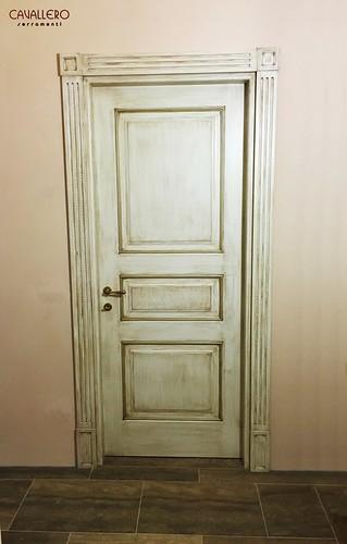 Porta interna 3 pannelli decorata a mano