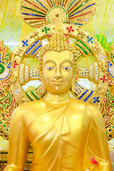 Statue of Golden Buddha, set up temporarily for water worship with roses and jasmine flower petals during Thai New Year (Songkran Holiday) (enchanted.fairy) Tags: