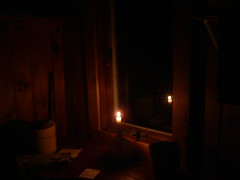 005 (bgoodtrek) Tags: light reflection window night cozy cabin candle adirondacks flame romantic tinycabin