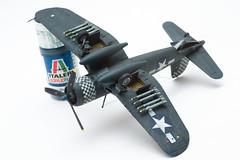 Vought F4U-1D Corsair : Checkerboarder (mr.beaver) Tags: model panasonic plastic kits corsair g3 vivitar 172 70210 vought mrbeaver strobist f354 f4u1d tamiya60752