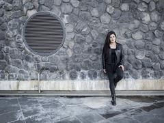 Nathalie, Amsterdam 2016: Rock chick (mdiepraam (35 mln views)) Tags: portrait girl beautiful dutch station amsterdam stairs pretty boots platform nathalie brunette elegant leatherjacket 2016 rietlandpark naturalglamour