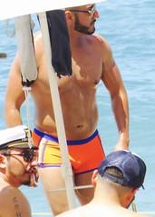 IMG_0739 (danimaniacs) Tags: shirtless man hot guy beach pecs beard hunk trunks swimsuit stud scruff sext