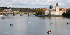 Prague II (zouberiphotography) Tags: city bridge autumn urban color colour water buildings river boats fishing nikon scenery cityscape republic fishermen czech prague capital prag praha tschechien bohemia vltava waterscape czechia moldau d40 tschechei zouberi