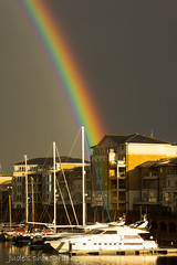 Didn't find a pot of gold? (judethedude73) Tags: sky reflection water marina boats spring skies harbour raibnbow